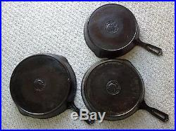THREE WAPAK INDIAN MEDALLION CAST IRON SKILLETS #10 #9 #8 (made 1903-1926)