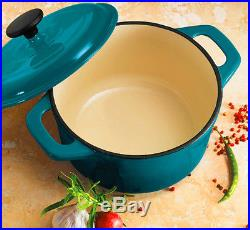 Teal Round Dutch Oven Enameled Cast Iron 3.5 Qt Covered Last for many years