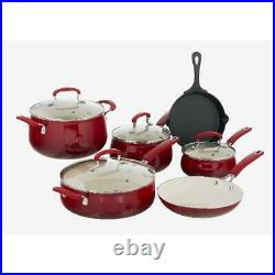 The Pioneer Woman Classic Belly 10 Piece Ceramic Nonstick Cast Iron Cookware Set