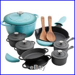 The Pioneer Woman Timeless Turquoise Cast Iron Essential, Set 18 Piece