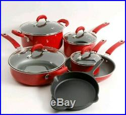 The Pioneer Woman Vintage Speckle & Cast Iron 10-Piece Non-Stick Cookware Set