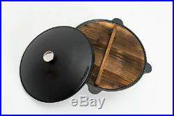 Traditional Kazan 9L 100% Cast Iron & Wood Stove Pilaf Plov Lagman Qazon Uzbek