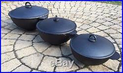 Traditional Kazan Qazon For Pilaf Plov Lagman Classic 100% Cast Iron 9L 15L 20L