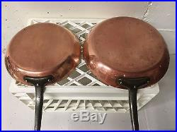 Two Mauviel copper fry pans (10 and 12). Stainless lined. Cast iron handles