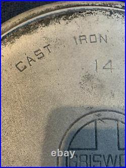 UNSEASONED Vintage #14 Griswold Cast Iron Skillet Pan LARGE LOGO 15 1/4 NICE