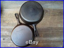 Unmarked Wagner 6 PC Cast Iron Skillet Set, #'s 12, 10, 8, 6, 5, & 3, restored