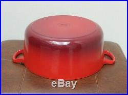 Used Dutch Oven Le Creuset Enamel Cast Iron #26 France Orange Flame 5.5 Quart