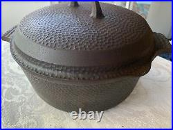 VERY RARE Griswold Hinged Hammered Dutch Oven #2058 withLid