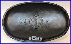 VERY RARE Griswold Slant Logo No. 3 Cast Iron Oval Roaster & Lid 2627 / 2628