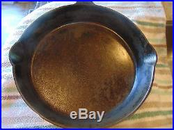 VINTAGE CAST IRON GRISWOLD NO. 12 SKILLET P/N 716 LARGE LOGO HEAT RING SITS FLAT