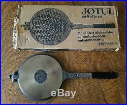 VINTAGE CAST IRON JOTUL KRUMKAKE WAFFLE IRON BAKELITE HANDLES WithORIGINAL BOX