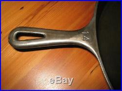 VINTAGE CAST IRON SKILLET NO # 14 GRISWOLD LARGE LOGO 718 HEAT RING 16 inch