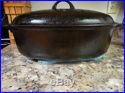 VINTAGE GRISWOLD No. 7 CAST IRON OVAL DUTCH OVEN ROASTER WITH LID NICE