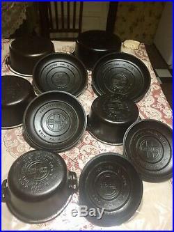 VINTAGE GRISWOLD TITE-TOP DUTCH OVEN SET No 6, 7, 8, 9, & 10 Iron Ware