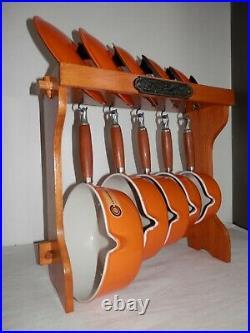 VINTAGE LE CREUSET CAST IRON 5x SAUCE PAN SET ORANGE WITH ORIGINAL STAND