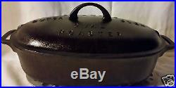VINTAGE RARE GRISWOLD LARGE BLOCK LOGO #3 CAST IRON DUTCH OVEN OVAL ROASTER