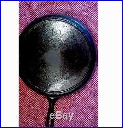 VINTAGE UNMARK LODGE CAST IRON SKILLET 12 #10 Home Cooking Kitchen Pan Look