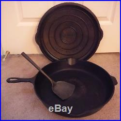 VTG. Griswold No. 12 719 B Skillet/Fry pan with No. 12 472 Lid, comes with spatula
