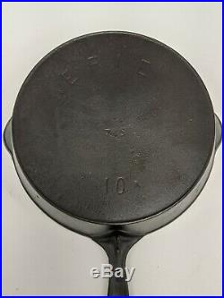 VTG Pre Griswold Erie No. 10 Cast Iron Skillet With Heat Ring Nicely Restored