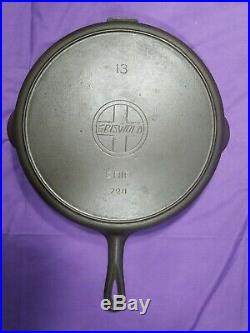 Very Rare Htf #13 Griswold Slant Erie Cast Iron Skillet #720 Strong Heat Ring