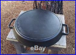 Vintage 20 Lodge Cast Iron Double Handled Hotel Pan with Heat Ring EUC Skillet