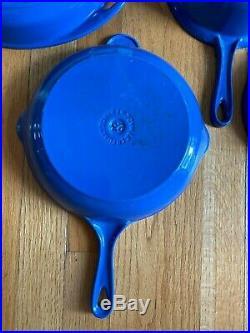 Vintage 4 pc Le Creuset Cast Iron #18 Saucepan W Skillet Lid #23 Skillet Blue