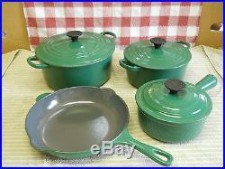Vintage 7pc. Le Creuset France Forest Green Ceramic Cast Iron Pans