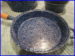 Vintage Blue Speckled Cast Iron Enamel Cookware Dutch Oven Skillet + 2 Saucepans