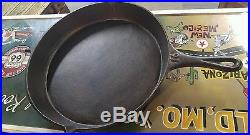 Vintage CAST IRON SKILLET # 16 With HEAT RING & SPOUTS unmarked