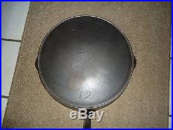 Vintage Erie Pre Griswold Number 12 Skillet With Heat Ring