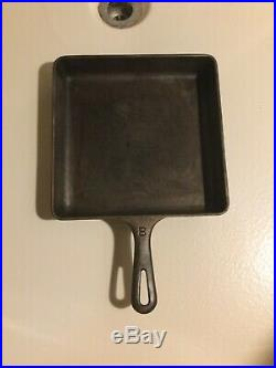 Vintage GRISOLD Cast Iron #8 Square Fry Pan Skillet With Glass Lid