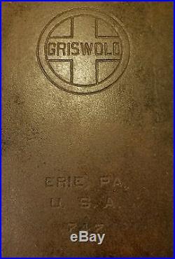 Vintage GRISWOLD 747 # 10 CAST IRON 24 Long GRIDDLE Camp Stove Commercial Wood