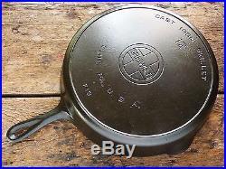 Vintage GRISWOLD Cast Iron SKILLET Frying Pan RESTORED # 12 LARGE BLOCK LOGO