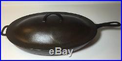 Vintage GRISWOLD OVAL SKILLET NO. 15 + RARE LID 1013 C Logo Large Size Fryer