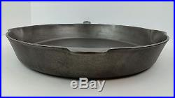 Vintage Griswold #14 Cast Iron Skillet, Large Block Logo & Heat Ring Erie PN 718
