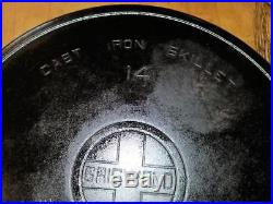 Vintage Griswold 14 Cast Iron Skillet Large Heat Ring 718 B Erie Large Block Pan