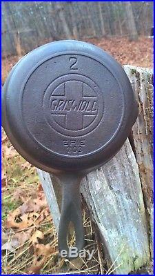 Vintage Griswold # 2 Cast Iron Skillet 703 With Slant Logo & Heat Ring