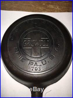 Vintage Griswold #2 Cast Iron Skillet With Heat Ring & Slant Logo 703