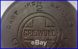 Vintage Griswold # 2 Skillet Large Logo 703 Erie Pa. Cast Iron