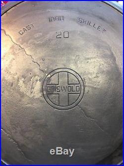 Vintage Griswold 20 Cast Iron Hotel Skillet 20