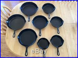 Vintage Griswold #3-10 Small Block Logo Erie PA Matching Cast Iron Skillet Set