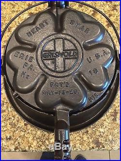 Vintage Griswold Cast Iron Heart Star 18 Waffle Maker, High Base