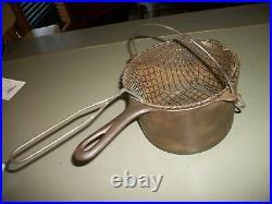 Vintage Griswold Deep Fat Fryer Cast Iron With Wire Basket # 1003 pot pan/Clean