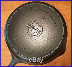 Vintage Griswold No 11 Large Block Logo Cast Iron Skillet w Heat Ring PN 717