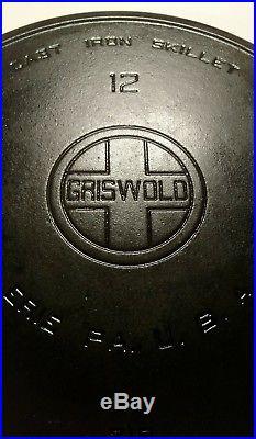 Vintage Griswold No. # 12 Large Block Heat / Smoke Ring Cast Iron Skillet 719