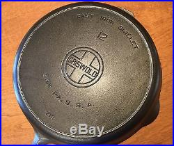Vintage Griswold No 12 Large Block Logo Cast Iron Skillet PN 719 Heat Ring