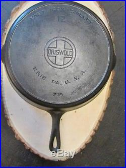 Vintage Griswold No. 12 Large Block Logo Cast Iron Skillet PN 719 Heavy Ring