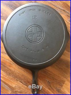 Vintage Griswold No 12 Large Block Logo Cast Iron Skillet PN 719 Restored