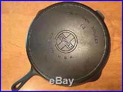Vintage Griswold No 14 Large Block Logo Cast Iron Skillet PN 718 FLAT