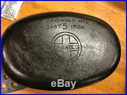 Vintage Griswold No. 5 Cast Iron Dutch Oven Oval Roaster withLid #5 & Trivet